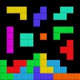 Elementos de Tetris Pedazos del ladrillo fondo del juego ilustración del vector