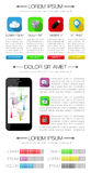 Elementos de Ui, de infographics e de Web que incluem d liso Foto de Stock Royalty Free