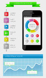 Elementos de Ui, de infographics e de Web que incluem d liso Imagens de Stock