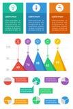Elementos de Ui, del infographics y del Web incluyendo d plana Foto de archivo