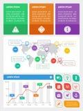 Elementos de Ui, del infographics y del Web incluyendo d plana Imagen de archivo