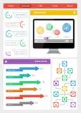 Elementos de Ui, del infographics y del web incluyendo d plana Fotografía de archivo libre de regalías
