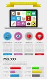 Elementos de Ui, del infographics y del web incluyendo d plana Fotografía de archivo