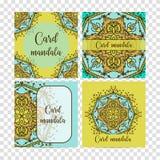 Elementos decorativos ajustados do vintage Cartão ou convite, fundo tirado mão Teste padrão oriental, ilustração do vetor islam ilustração royalty free