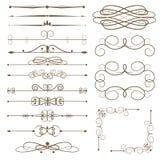 Elementos decorativos antiguos, divisores de la página del sistema Foto de archivo libre de regalías