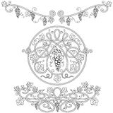 Elementos decorativos blancos y negros Imagen de archivo