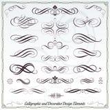 Elementos decorativos caligráficos Imágenes de archivo libres de regalías