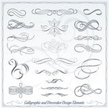 Elementos decorativos caligráficos del diseño Imagenes de archivo