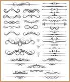 Elementos decorativos caligráficos Foto de archivo libre de regalías