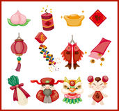 Elementos decorativos chineses do ano novo Imagens de Stock Royalty Free