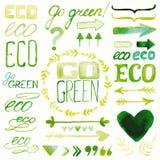 Elementos decorativos da aquarela de Eco fotografia de stock