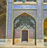 Elementos decorativos da mesquita de Nasir Ol-Molk, Shiraz, Irã Foto de Stock