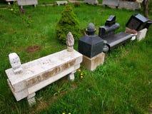 Elementos decorativos da pedra para sepulturas fotografia de stock royalty free