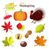 Elementos decorativos de la acción de gracias y del otoño Imagen de archivo libre de regalías