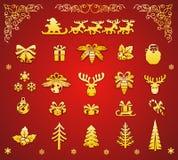 Elementos decorativos de la Navidad Foto de archivo libre de regalías