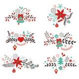 Elementos decorativos de la Navidad y del Año Nuevo Foto de archivo