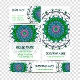 Elementos decorativos de la vendimia Tarjetas y banderas de visita Modelo oriental, ejemplo Islam, adorno turco indio árabe Imágenes de archivo libres de regalías