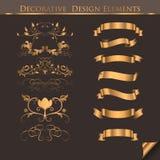 Elementos decorativos de oro del diseño Foto de archivo