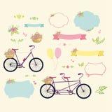 Elementos decorativos, decoración que remolina, cintas, bicicleta y bici en tándem Imagen de archivo