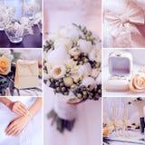 Elementos decorativos del arte del collage de la boda Fotografía de archivo