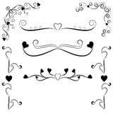 Elementos decorativos del diseño con los corazones Foto de archivo libre de regalías