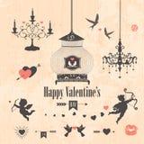 Elementos decorativos del diseño del día de tarjetas del día de San Valentín Imagen de archivo
