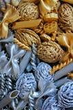 Elementos decorativos del oro y de la plata, fondo, textura Fotos de archivo libres de regalías