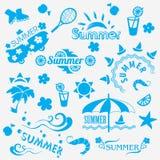 Elementos decorativos del verano ilustración del vector
