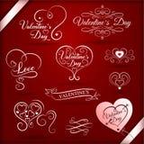 Elementos decorativos del vintage para día de San Valentín con las inscripciones festivas libre illustration