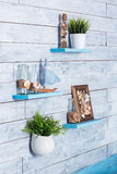 Elementos decorativos do interior no estilo marítimo Imagem de Stock