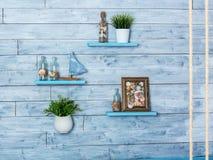 Elementos decorativos do interior no estilo marítimo Foto de Stock Royalty Free