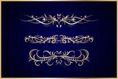 Elementos decorativos do ouro Foto de Stock Royalty Free
