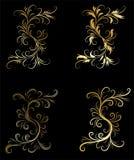 Elementos decorativos dourados do projeto Foto de Stock Royalty Free