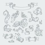 Elementos decorativos en estilo barroco Ornamento victoriano, hojas del acanthus libre illustration
