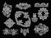 Elementos decorativos - estilo do laço Fotografia de Stock