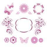 Elementos decorativos florais Imagem de Stock