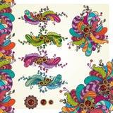 Elementos decorativos florais abstratos ajustados do projeto do vetor Fotografia de Stock
