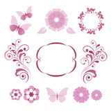 Elementos decorativos florales Imagen de archivo