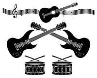 Elementos decorativos - instrumentos musicais Imagem de Stock Royalty Free