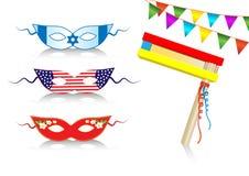 Elementos decorativos internacionais do aniversário Foto de Stock