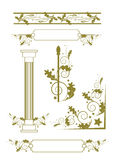 Elementos decorativos Modelo del vector con las flores y las plantas Decoración floral Inconsútil floral original Fotos de archivo