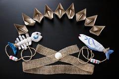 Elementos decorativos na marinha Marine Style Imagem de Stock