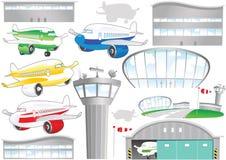 Elementos del aeropuerto Stock de ilustración