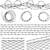 Elementos del alambre de púas Foto de archivo