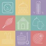 Elementos del banya ruso Iconos de la sauna fijados Vector Imágenes de archivo libres de regalías