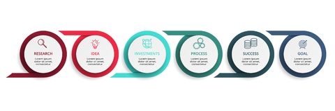 Elementos del c?rculo del gr?fico, del diagrama con 6 pasos, de opciones, de piezas o de procesos Plantilla para infographic, pre stock de ilustración