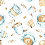 Elementos del café, alta resolución de la pintura de la acuarela Imagen de archivo