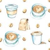 Elementos del café, alta resolución de la pintura de la acuarela Imágenes de archivo libres de regalías
