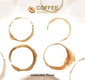 Elementos del café, alta resolución de la pintura de la acuarela Imagenes de archivo