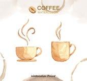 Elementos del café, alta resolución de la pintura de la acuarela Foto de archivo libre de regalías